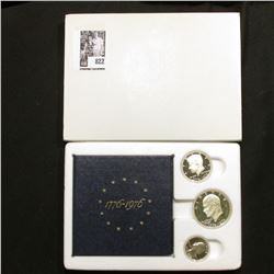 1976 S U.S. Three-Piece Silver Proof Set in original box and holder as issued. Dollar, Half-dollar,