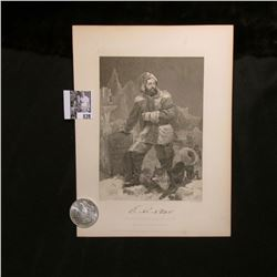 1898 P Morgan Silver Dollar, Choice BU & a black & white print of E.K. Kane, with a copy of his orig