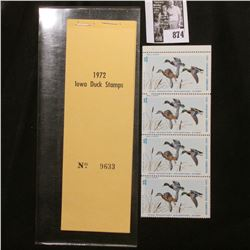 1972 Booklet Pane of Four Iowa Duck Stamps in folder No. 9633. Crisp Uncirculated.