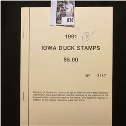 1991 Booklet Pane of Ten Iowa Duck Stamps in folder No. 3187. Crisp Uncirculated.
