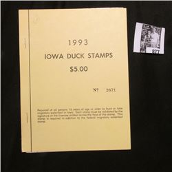 1993 Booklet Pane of Ten Iowa Duck Stamps in folder No. 2671. Crisp Uncirculated.