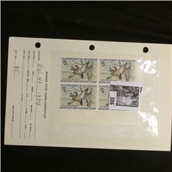 Plateblock RW 41 1974 Federal Migratory Bird Hunting and Conservation Stamps, 4 Stamps, never hinged