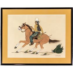 Beatien Yazz Framed Painting: Cowboy riding horse