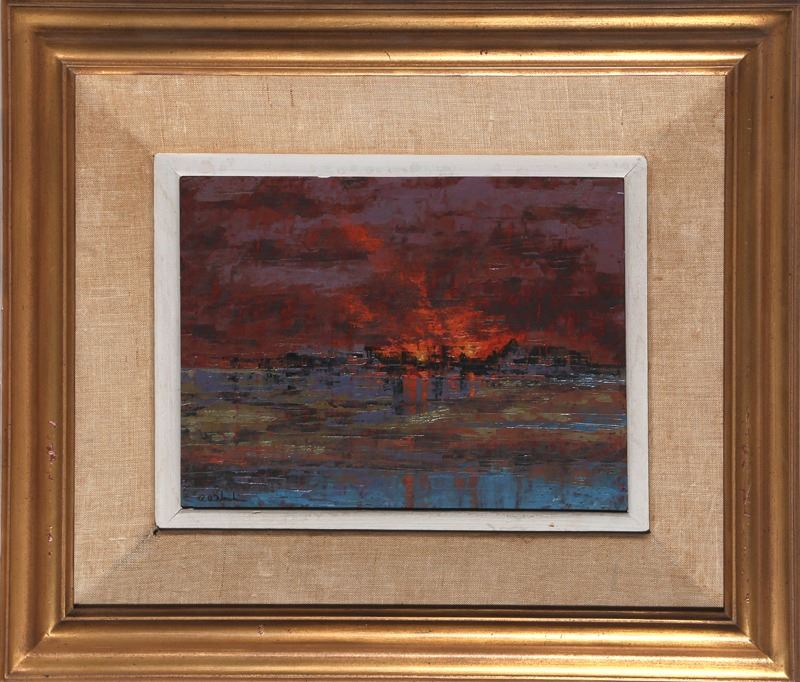 Richard Florsheim Fire Low Tide Oil Wax And Gesso Painting
