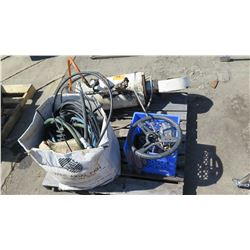 Contents of Pallet: Steering Wheel, Hoses, Cable, Hydraulic Ram