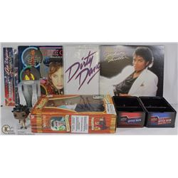 BOX OF MISC COLLECTABLES: MICHAEL JACKSON RECORD,