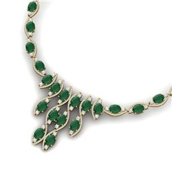 65.93 CTW Royalty Emerald & VS Diamond Necklace 18K Yellow Gold - REF-1145T5X - 38996