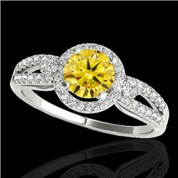 1.25 CTW Certified Si Fancy Intense Yellow Diamond Solitaire Halo Ring 10K White Gold - REF-161X8T -