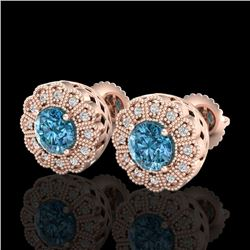 1.32 CTW Fancy Intense Blue Diamond Art Deco Stud Earrings 18K Rose Gold - REF-160N2Y - 37839