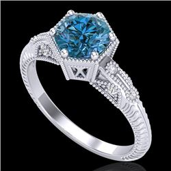 1.17 CTW Fancy Intense Blue Diamond Solitaire Art Deco Ring 18K White Gold - REF-180Y2N - 38034