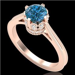 1.14 CTW Fancy Intense Blue Diamond Solitaire Art Deco Ring 18K Rose Gold - REF-136M4F - 37342