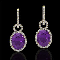 6 CTW Amethyst & Micro Pave Solitaire Halo VS/SI Diamond Earrings 14K Yellow Gold - REF-88W9H - 2272
