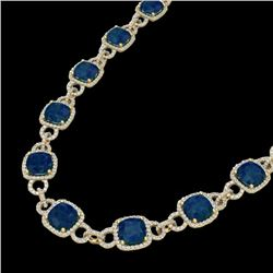 56 CTW Sapphire & Micro VS/SI Diamond Eternity Necklace 14K Yellow Gold - REF-960T2X - 23051
