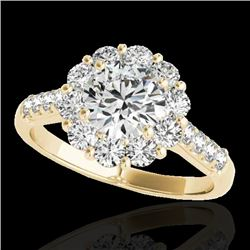 2 CTW H-SI/I Certified Diamond Solitaire Halo Ring 10K Yellow Gold - REF-207Y3N - 33420