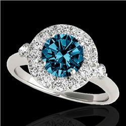 1.5 CTW SI Certified Fancy Blue Diamond Solitaire Halo Ring 10K White Gold - REF-172M8F - 33459