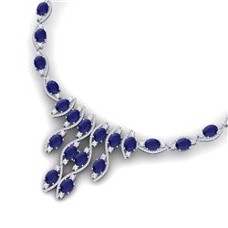 65.93 CTW Royalty Sapphire & VS Diamond Necklace 18K White Gold - REF-1072H8W - 39000
