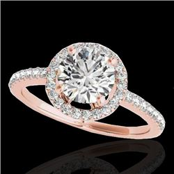 1.4 CTW H-SI/I Certified Diamond Solitaire Halo Ring 10K Rose Gold - REF-172F8M - 34097