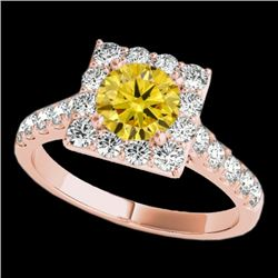 2 CTW Certified Si Fancy Intense Yellow Diamond Solitaire Halo Ring 10K Rose Gold - REF-210X9T - 341