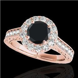 1.7 CTW Certified Vs Black Diamond Solitaire Halo Ring 10K Rose Gold - REF-84F4M - 33728