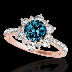 2 CTW SI Certified Blue Diamond Solitaire Halo Ring 10K Rose Gold - REF-200T2X - 33712