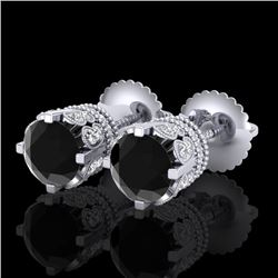 3 CTW Fancy Black Diamond Solitaire Art Deco Stud Earrings 18K White Gold - REF-149K3R - 37359