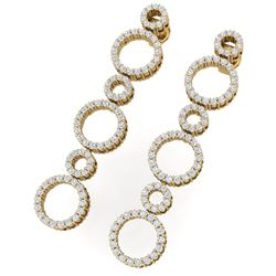 1.50 CTW Certified SI/I Diamond Halo Earrings 18K Yellow Gold - REF-126M5F - 40183