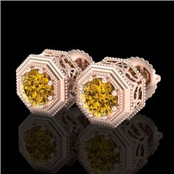 1.07 CTW Intense Fancy Yellow Diamond Art Deco Stud Earrings 18K Rose Gold - REF-132K8R - 37939