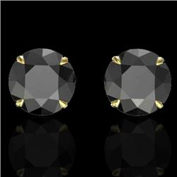 4 CTW Black VS/SI Diamond Designer Inspired Stud Earrings 18K Yellow Gold - REF-105T8X - 21816