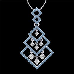 1.50 CTW Micro Blue & VS/SI Diamond Necklace Dangling Designer 14K White Gold - REF-140K8R - 22491