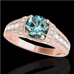 1.5 CTW SI Certified Fancy Blue Diamond Solitaire Antique Ring 10K Rose Gold - REF-180M2F - 34780