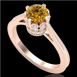 1.14 CTW Intense Fancy Yellow Diamond Engagement Art Deco Ring 18K Rose Gold - REF-136R4K - 37344