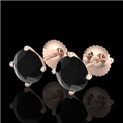 2.5 CTW Fancy Black Diamond Solitaire Art Deco Stud Earrings 18K Rose Gold - REF-81W8H - 38249