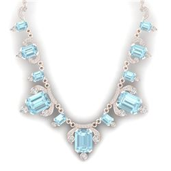 79.56 CTW Royalty Sky Topaz & VS Diamond Necklace 18K Rose Gold - REF-945N5Y - 38755