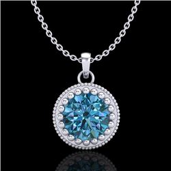 1 CTW Intense Blue Diamond Solitaire Art Deco Stud Necklace 18K White Gold - REF-158H2W - 37488
