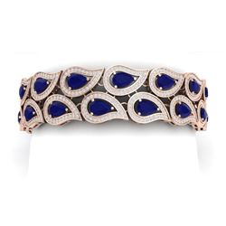 21.6 CTW Royalty Sapphire & VS Diamond Bracelet 18K Rose Gold - REF-800K2R - 39487