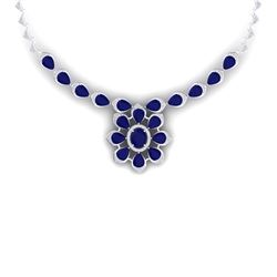 38.46 CTW Royalty Sapphire & VS Diamond Necklace 18K White Gold - REF-618H2W - 39036