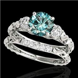 1.35 CTW SI Certified Fancy Blue Diamond 3 Stone Set 10K White Gold - REF-174T5X - 35435
