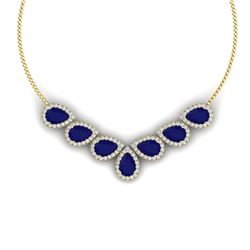 34.72 CTW Royalty Sapphire & VS Diamond Necklace 18K Yellow Gold - REF-618W2H - 38834