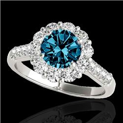 2 CTW SI Certified Fancy Blue Diamond Solitaire Halo Ring 10K White Gold - REF-207F3M - 33423