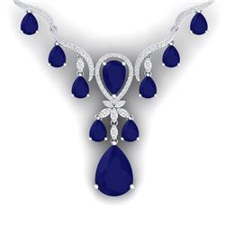 37.14 CTW Royalty Sapphire & VS Diamond Necklace 18K White Gold - REF-763Y6N - 38595