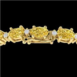 25.8 CTW Citrine & VS/SI Certified Diamond Eternity Bracelet 10K Yellow Gold - REF-118N4Y - 29449