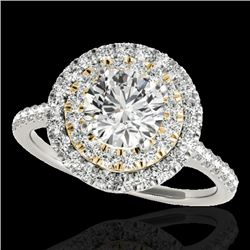 1.5 CTW H-SI/I Certified Diamond Solitaire Halo Ring Two Tone 10K White & Yellow Gold - REF-163M6F -