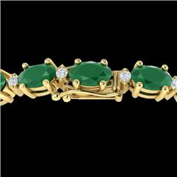 30.8 CTW Emerald & VS/SI Certified Diamond Eternity Bracelet 10K Yellow Gold - REF-187F3M - 29451