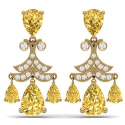 10.41 CTW Royalty Canary Citrine & VS Diamond Earrings 18K Yellow Gold - REF-130Y2N - 38729