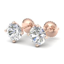 2.5 CTW VS/SI Diamond Bridal Solitaire Stud Earrings 18K Rose Gold - REF-668N2Y - 37308