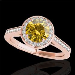 1.33 CTW Certified Si Fancy Intense Yellow Diamond Solitaire Halo Ring 10K Rose Gold - REF-174R5K -