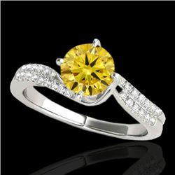 1.2 CTW Certified Si Fancy Yellow Diamond Bypass Solitaire Ring 10K White Gold - REF-161N8Y - 35112