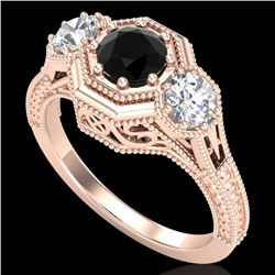 1.05 CTW Fancy Black Diamond Solitaire Art Deco 3 Stone Ring 18K Rose Gold - REF-132Y8N - 37948