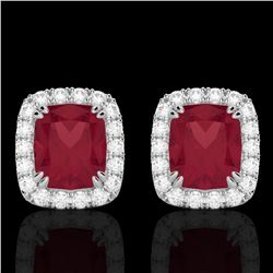 2.50 CTW Ruby & Micro Pave VS/SI Diamond Certified Halo Earrings 10K White Gold - REF-49M3F - 22868