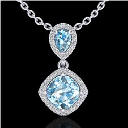 3.50 CTW Sky Blue Topaz & Micro VS/SI Diamond Necklace Designer Halo 10K White Gold - REF-45K3R - 20